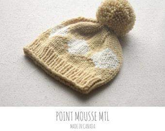 Baby knit hat -Pompom baby beanie - Baby beanie hat - Baby boy gift - Baby girl gift // hand knit in Canada - 100% merino wool