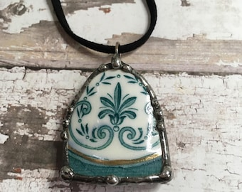Broken Dish Necklace, Pendant, Soldered Broken China Pendant, Teal Color, Recycled Vintage Tea Cup, Leather Cord, Repurposed
