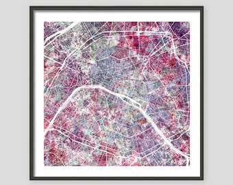 PARIS, Watercolor painting, France Map, Giclee Fine Art, Modern Abstract, Poster Print, Wall Art, Home Decor, Decoration