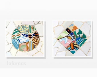 Set of 2 prints, Mosaic print set, interior design art, gallery wall set, Gaudi, mosaic tiles, original art gift, Fine Art Photography