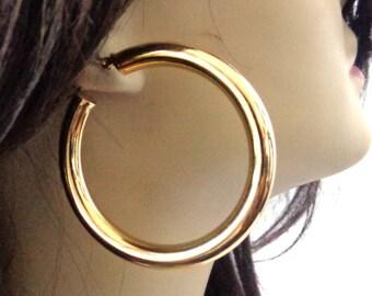 Brass Plated Hoop Earrings Gold Hoop Earrings 2 inch Hoop Earrings Pipe Thick