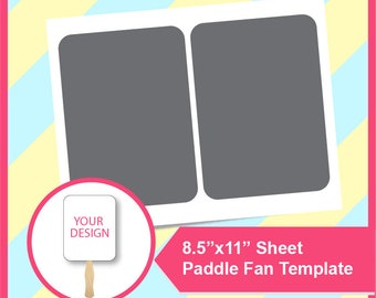 """Instant Download, 5x7"""", Wedding fan, Paddle Fan Template, PSD, PNG and SVG Microsoft word Doc Formats,  8.5x11"""" sheet,  Printable"""
