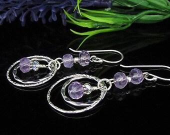 Light Amethyst Sterling Silver Dangle Earrings