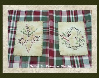 Prim Winter Floral Hand Towel Collection 1-Primitive Stitchery  E-PATTERN-Instant Download