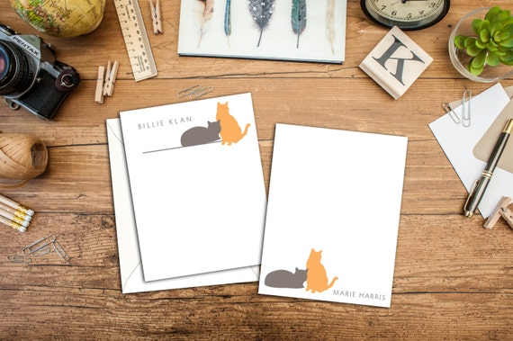Kitty Cat Personalized Flat Note Cards, Set of 10 Note Cards with Envelopes, Custom Note Cards Personalized with Envelopes