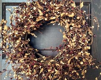 Bugundy Pip Berry Wreath, Mulberry Pip Berry Wreath, Primitive Fall Wreath, Americana Wreath, Rustic Wreath, Country Decor, FREE SHIPPING