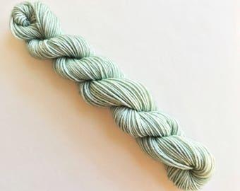 VERDIGRIS hand dyed yarn mini skein. sock fingering yarn, merino wool superwash knitting embroidery. 4 ply. Pale grey gray green yarn