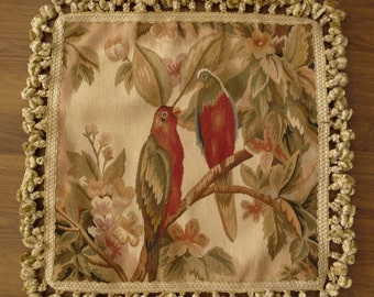 18″ x 18″ Handmade Parrot French Gobelin Tapestry Weave Wool Aubusson Cushion Cover / Pillow Case 12980034