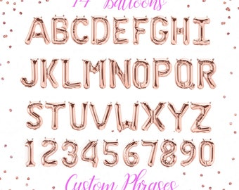 "Rose Gold Letter Balloons, Rose Gold Balloons, Rose Gold Letter Decor, Custom Word, Custom Phrase, Personalized Balloon, 14"" Balloon"