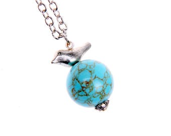 Bird Necklace, Earth Necklace, turquoise necklace