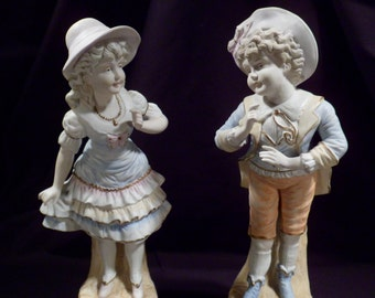 Pair of Antique Bisque Boy, Girl Figurines, Statuettes, Hand-Painted, German
