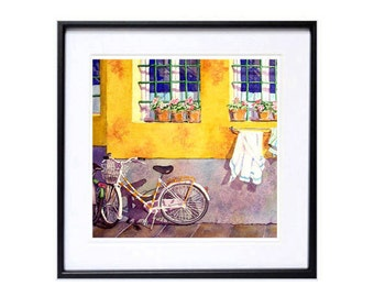 Bicycle Art, Art print, Kitchen Wall Art, Valentine Sale, Italian, Bicycle, Yellow Background, Wall Art Decor, Watercolor art, LaBerge