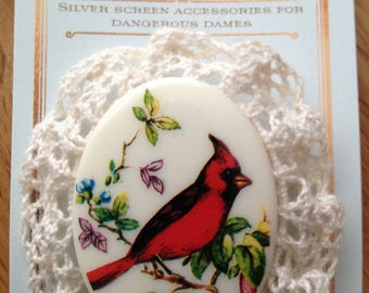 Red Cardinal Victorian inspired brooch
