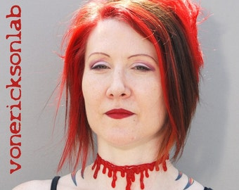 Blood Drip Necklace - Halloween Jewelry  -three piece set-1 bright red extra drippy choker and 2 bright red bracelets