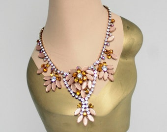 Czech Rhinestone Necklace - Striking Rose Gold Tone With Light Topaz, Clear And Pink Frosted Marquise Cut Cabochons - Free U.S. Shipping!