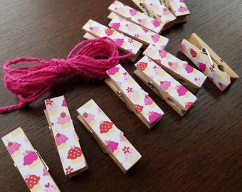 Pink Cupcakes - Chunky Little Clothespin Clips w Twine for Display Clothesline -  Set of 12 - Girl Baby Birthday