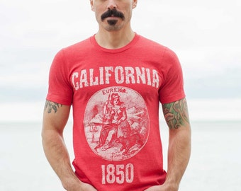California State Seal T-Shirt. Vintage Style Soft Retro West Coast Shirt Unisex Men's Slim Fit and Women's Tee