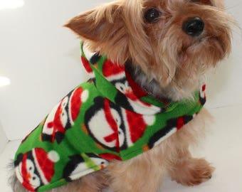 Christmas Dog Hoodie, Small Holiday Penguin Fleece Dogs Jacket, Ready To Ship, Designer Fashion Dog Clothing
