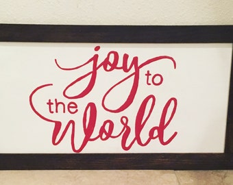 Joy to the World framed wood sign
