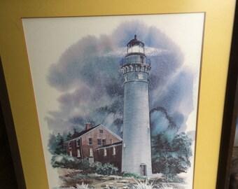 """Vintage Print of """"South Manitou Light"""" Lake Michigan"""
