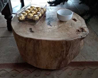 Wooden coffee table with casters, eco-sustainable wood recovery furniture, Nordic style complement, wood recovery