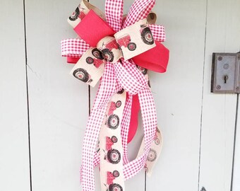 Beautiful Large Red Tractor Bow for wreaths, mailboxes, and more!