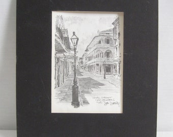 1976* Print of Hand Drawn Hand Stetched Royal Street NEW ORLEANS Artist Signed Needs Framing See Measurements