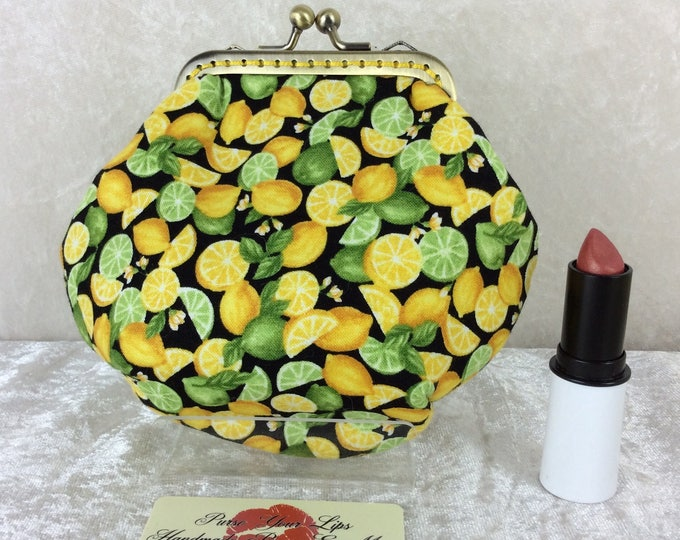Handmade coin purse frame kiss clasp fabric change wallet pouch Lemons and Limes