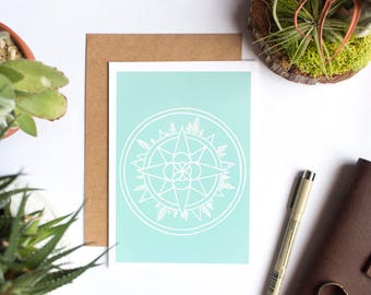 Wanderer Compass Blank Card | Screen Printed Greeting Card | Graduation Card | Just Because | Nature Lover Gift | Card for Daughter