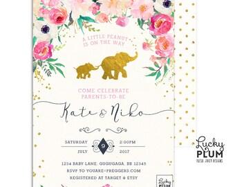 Elephant Baby Shower Invitation / Couples Baby Shower Invitation / Coed Baby Shower Invite / Safari Baby Shower Invitation / LPS005