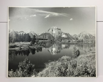 Oxbow Bend Nature Photography Black White Poster M R Overholt Vintage Art Print