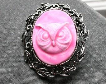 Owl Cameo Brooch, Pink Cameo, Handmade Skull Cameo,  Broach, Skull Cameo Broach, Handmade Cameo, Cameo Jewelry