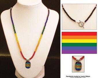 Gay Pride Rainbow Necklace - Rectangle
