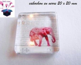 1 cabochon clear square flat 20 x 20 mm elephant theme