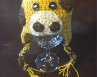 Crochet giraffe hat and booties