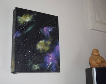 Cosmos, Original Painting by Susi Southernwood ~Space/Purple/Yellow/Stars~