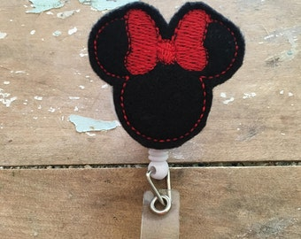 Minnie Mouse ID badge reel holder retractable clip