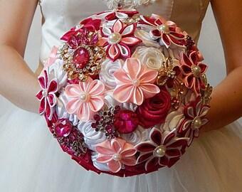 broach bouquet  brooch bouquet wedding bouquet bridal bouquet white bouquet pink bouquet silk bouquet alternative bouquet jeweled bouquet