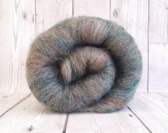 Luxury Carded Batt, Fawn British Alpaca, Natural White Wendsleydale Wool, Green Recycled Cashmere, Fibre for Spinning, Wool for Felting