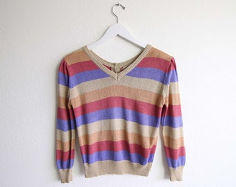 VINTAGE Sweater 1980s Stripe Rainbow Sweater Knit Top Womens Small