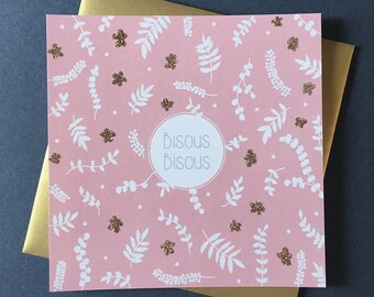 Glitter kisses kisses greeting card