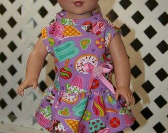 18 inch doll clothes, Summer Dress, Lavender, Summer Theme, fits 18 inch dolls