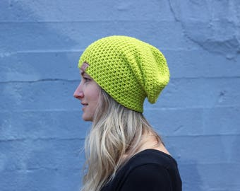 Neon Yellow- ACRYLIC Soft Light Weight Wool Slouchy Beanie