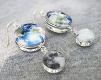 Mini Earth and Moon Double Sided Sterling Silver Earrings, Hand-Made