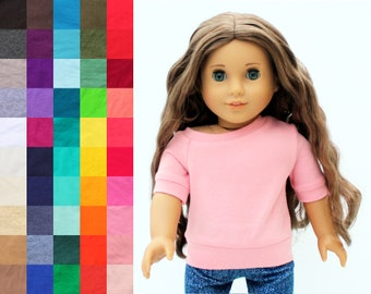 Fits like American Girl Doll Clothes - Off Shoulder Top, You Choose Color and Sleeve Length | 18 Inch Doll Clothes