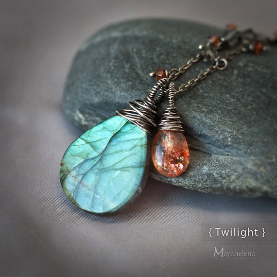 Twilight - Flashy Labradorite Focal and Sunstone Briolette Wire Wrapped Sterling Silver Necklace Pendant