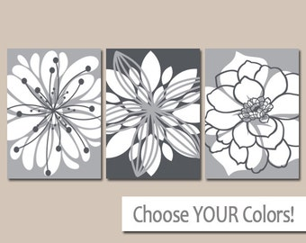 GRAY Wall Art, Canvas or Prints, Floral Bathroom Decor, Floral Bedroom Wall Decor, Gray Flower Wall Art, Flower Bedroom Decor, Set of 3