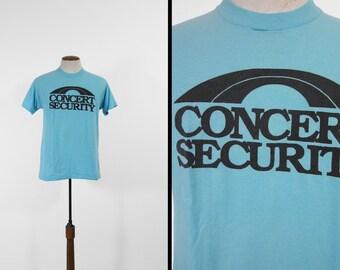 Concert Vintage sécurité T-shirt des années 80 papier rétro Tour mince Crew Tee - Medium