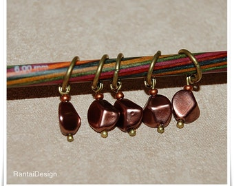 Stitch Markers for knitting ring markers Bronze Nuggets