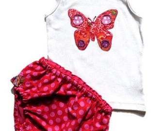 SALE 50% OFF Code:- SALEJAN1850 Baby girldiaper cover set,  Baby Shower gift, Butterfly  diaper cover set  Size 6-12 Mths Ready  to ship